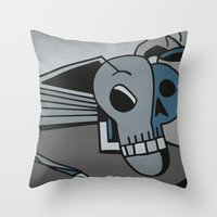 Skull, Book and Coffee Throw Pillow