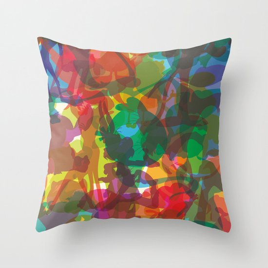 50 famous characters (solid) Throw Pillow