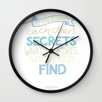 Each Other's Secrets Wall Clock