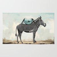 Zebra Friends Travelling the World Rug