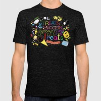 Treats and snoozin'. Snoozin' and treats. Mens Fitted Tee Tri-Black SMALL