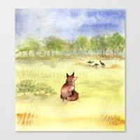 Red Fox Watching Wild Tu… Canvas Print