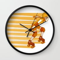 Roller Derby Skater By R… Wall Clock