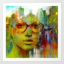 red glasses girl Art Print
