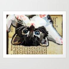 Kittens and books Art Print