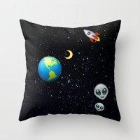 Space Emoji Throw Pillow