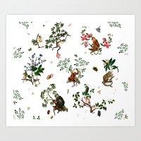 Monkey World - White Art Print