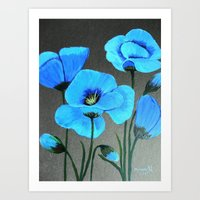 Blue Poppies  Art Print