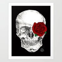 Rose Skull Black Art Print