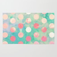 Retro Pink Polka Dots Hipster Turquoise Pattern Rug