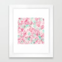 Handdrawn Lace Pink Teal… Framed Art Print