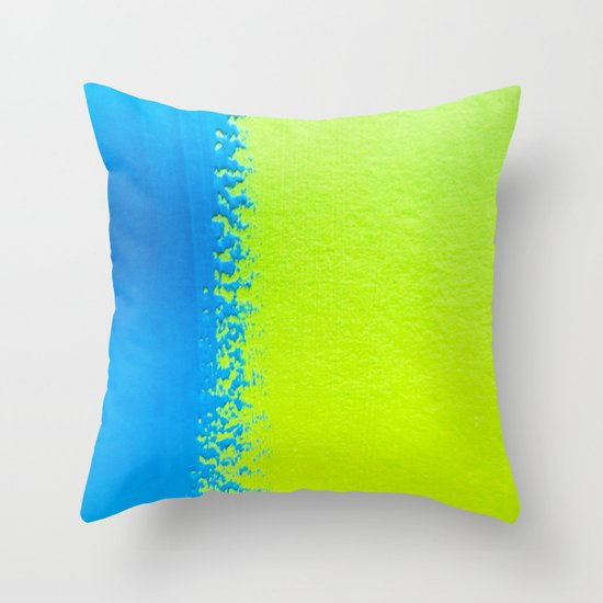 Blue Green Paint Throw Pillow