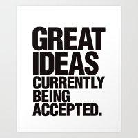 Great Ideas Typography Quote  Art Print
