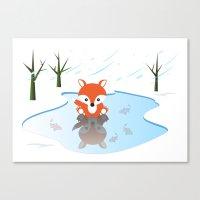 Little Fox On Ice Canvas Print