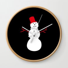 Christmas Snowman-Black Wall Clock