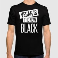 Vegan Is The New Black. Mens Fitted Tee Black SMALL