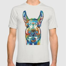 Colorful Llama Art - The… Mens Fitted Tee Silver SMALL