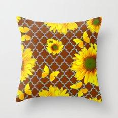 Coffee Brown Patterned Yellow Butterflies Sunflower Design Throw Pillow