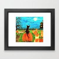 Seven Cats in Pumpkin Patch Framed Art Print