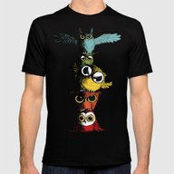 Totem Of Owls Mens Fitted Tee Black SMALL