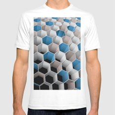 Honeycomb White Mens Fitted Tee SMALL