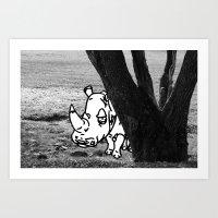Art Print featuring Rhino by Gnarleston