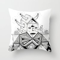 Birdhouse Head Throw Pillow