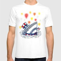 The Patriotic Shark Mens Fitted Tee White SMALL