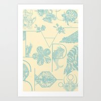 Letters In Blue Art Print