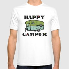 Happy Camper SMALL Mens Fitted Tee White
