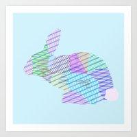 rabbit Art Prints featuring Rabbit by nessieness