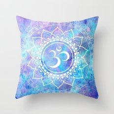 Om Mandala Pink Aqua Lavender Galaxy Space Throw Pillow