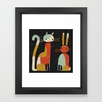 CAT AND BUNNY Framed Art Print