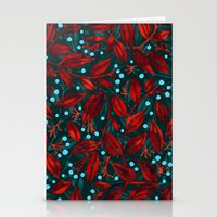 BLUE BERRIES RED LEAVES Stationery Cards