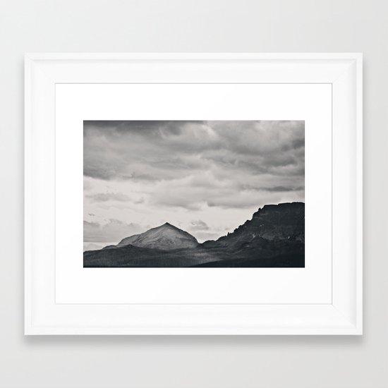 Mountain Peak and Plateau Black and White Framed Art Print