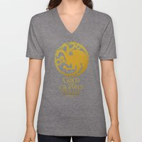 Gold and Gravity Beams Unisex V-Neck