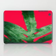 Green Fern On Bright Red iPad Case