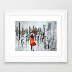 The Girl In The Red Rain… Framed Art Print