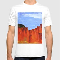 High Desert Canyons White Mens Fitted Tee SMALL