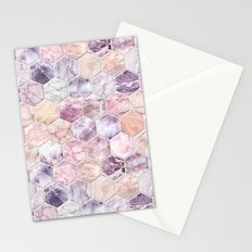 Rose Quartz and Amethyst Stone and Marble Hexagon Tiles Stationery Cards