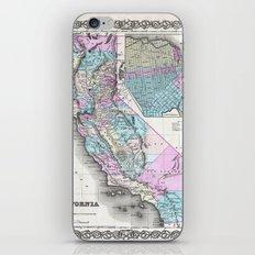 Map of California and San Francisco 1855 iPhone & iPod Skin