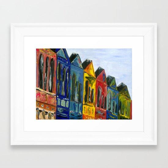 Rainbow Row Framed Art Print