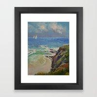 Sailing Off The Cove Framed Art Print