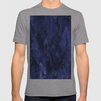 Bright Blue Imprinted Metal Look Mens Fitted Tee Athletic Grey SMALL