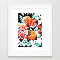Brush Floral Framed Art Print