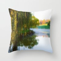 Morning mist on Schnormeier pond Throw Pillow