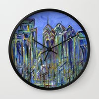 Blue Philadelphia Skyline Wall Clock