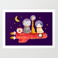 Art Print featuring Let's All Go To Mars by Budi Kwan