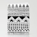 aztec tribal: black and white Stationery Cards