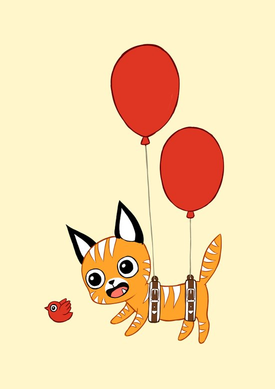 Balloon Cat Art Print